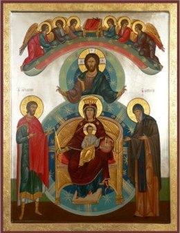 Семейная икона: Спаситель, Богоматерь с Младенцем на Престоле, Ангелы, Святой Мученик Евгений, Святой Антоний