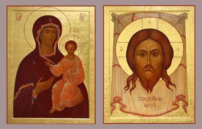 Венчальная Икона Спаситель на убруче, Богоматерь одигидрия